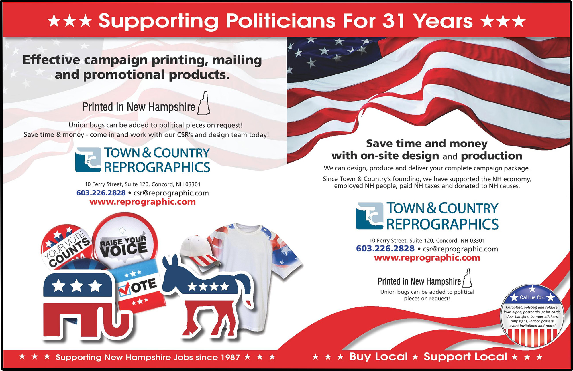 Town & Country Reprographic in Concord NH for political printing, lawn signs and palm cards
